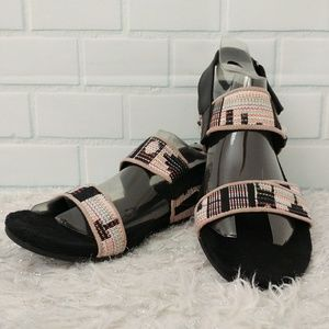 TOMS Black Tierra Tribal Woven Strap Sandals